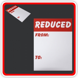 "Sale Cards 'REDUCED - FROM - TO' 200 x 125mm (8""x5"") - Pack 12"