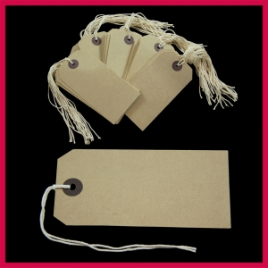 SupaTags Strung Tags Size 4 108mm x 54mm Buff Recycled - Pack 50