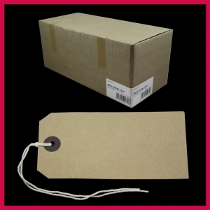 SupaTags Strung Tags Size 5 120mm x 60mm Buff Recycled - Bulk Box 1000