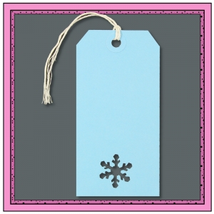 Blue Christmas Gift Tags with Punched SNOWFLAKE 120mm x 60mm - Pack 10