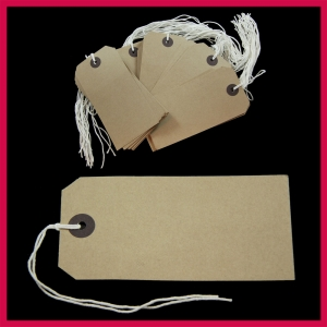 SupaTags Strung Tags Size 5 120mm x 60mm Buff Recycled - Pack 50