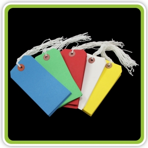 SupaTags Tags Size 5 120mm x 60mm Assorted Colours Bu/Gn/R/W/Y Recycled - Pack 50