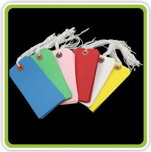 SupaTags Tags Size 5 120mm x 60mm Assorted Colours Bu/Gn/P/R/W/Y Recycled - Pack 60