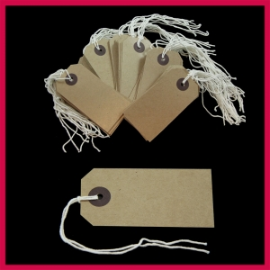 SupaTags Strung Tags Size 2 82mm x 41mm Buff Recycled - Pack 50