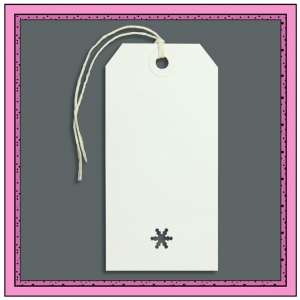White Christmas Gift Tags with Punched SNOW FLAKE 120mm x 60mm - Pack 10