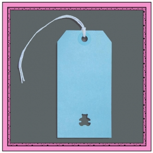 Blue Boys Gift Tags with Punched TEDDY BEAR 120mm x 60mm - Pack 10