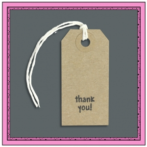 Buff Gift Tags THANK YOU 70mm x 35mm - Pack 10