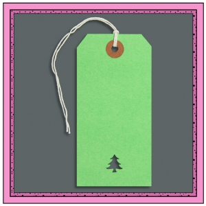 Green Gift Tags with Punched CHRISTMAS TREE 120mm x 60mm - Pack 10