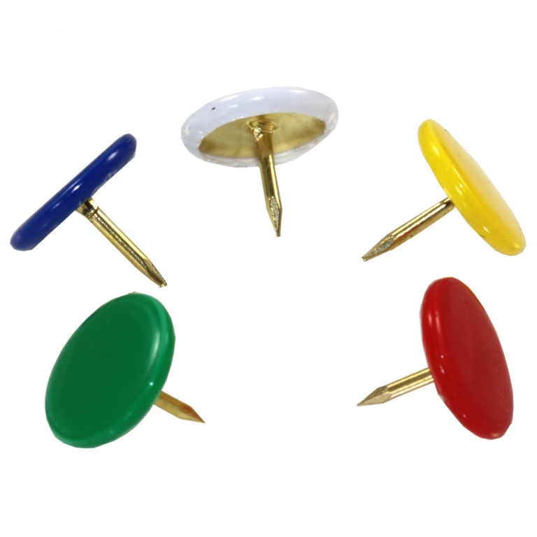 Drawing Pins Assorted Colours Head - Pack 120